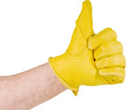 Leather glove thumbs up Stock Photography