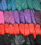 Leather gloves. Colorful leather gloves, clothing and accessories Royalty Free Stock Image