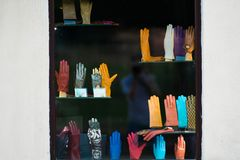 Leather gloves. Colorful leather gloves. Multicolored gloves stock image