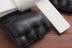 Leather Gloves for fighting without rules Royalty Free Stock Photo