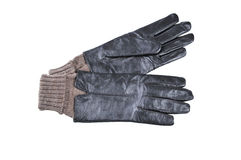 Leather gloves insulated. Women's gloves on a white. Background Royalty Free Stock Images