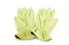 Leather gloves isolated on the white Stock Image