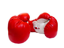 Leather gloves of red-white colour for boxing. Two professional leather gloves of red-white colour for boxing Royalty Free Stock Photos