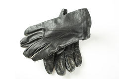 Leather gloves. Retro black leather gloves isolated in white Stock Photography