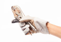 Leather gloves for safe repair technician. on white background. Leather gloves for safe repair technician. hand men on white background Royalty Free Stock Photography