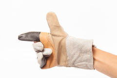 Leather gloves for safe repair technician. on white background. Leather gloves for safe repair technician. hand men on white background Stock Photo