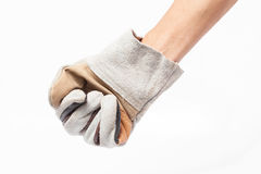 Leather gloves for technicians on white background Royalty Free Stock Images
