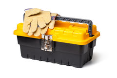 Leather Gloves and toolbox Royalty Free Stock Photos