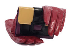 Leather gloves  and wallet, close-up. Isolated on white background Stock Photo