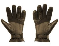 Leather gloves on white royalty free stock photo