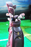 Leather golf bag and clubs Stock Image