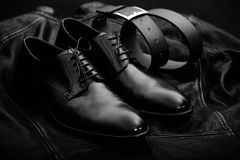 Leather goods. Black leather accessories. leather goods royalty free stock photos