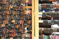 Leather Goods. A selection of leather goods for sale at an outdoor market Royalty Free Stock Photo