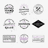 Leather goods vintage labels. Handcrafted leather goods badges. Handmade logos. Good for branding company, flyers, posters, ads and other Royalty Free Stock Photos