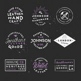 Leather goods vintage labels. Handcrafted leather goods badges. Handmade logos. Good for branding company, flyers, posters, ads and other Royalty Free Stock Images