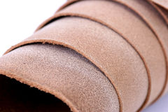 Leather Grain Roll. Close up (only small amount of focus) side of leather. Untanned, untreated natural split Stock Photography