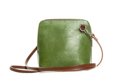 Leather green handbag isolated on white background Royalty Free Stock Image