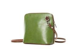 Leather green handbag isolated on white Royalty Free Stock Photo
