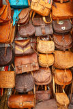 Leather hand bags exposed in Granada Stock Images