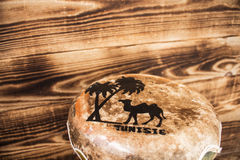 Leather hand drum with the inscription Tunisia Royalty Free Stock Images