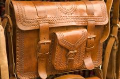 Leather Handbag. Showing details of workmanship for sale in a Mexican Market in Chiapas Mexico Royalty Free Stock Photo