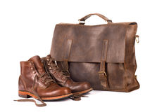 Leather handbag and boots Stock Photos