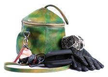 Bag female, gloves , headphones royalty free stock image