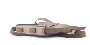 Leather handbag handmade  on white Royalty Free Stock Image