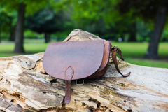 Leather handbag on tree trunk Stock Photography