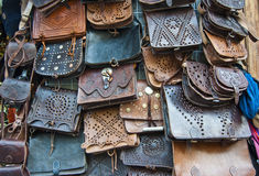 Leather handbags. In an Arab tent Royalty Free Stock Photos