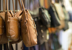Leather handbags. Royalty Free Stock Photos
