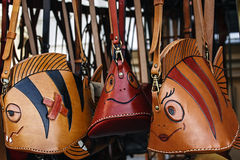 Leather Handbags with various figures Stock Photo
