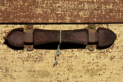 Leather handle on an old suitcase. Severn valley railway, bewdley station, uk royalty free stock images