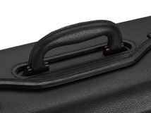 Leather handle suitcase closeup Stock Photo