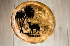 Leather handmade drum with the inscription Tunisia Stock Photos