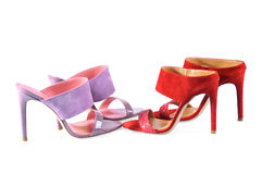 Leather handmade shoes. Pink and Red heels sandals Stock Images