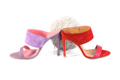 Leather handmade shoes - Pink and Red heels sandals Stock Photography