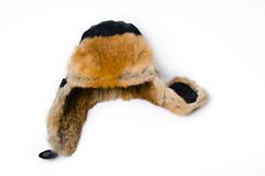Leather Hat with Fur. Winter Leather Hat with Fur Royalty Free Stock Image