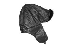 Leather hat with fur Royalty Free Stock Photography