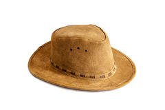 Leather hat isolated. A brown leather hat isolated on a white background Stock Image