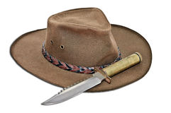 Leather Hat with Large Knife Stock Photo