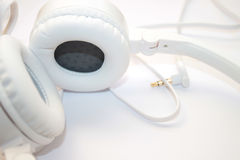 Leather headset on white background. Headset with soft earpads on white background royalty free stock images