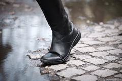 Leather high boots Royalty Free Stock Photography
