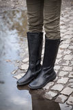 Leather high boots Stock Photos