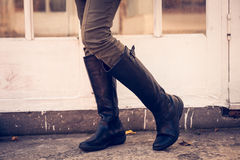 Leather high boots Royalty Free Stock Photos
