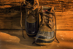 Leather hiking boots Stock Images