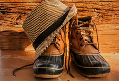 Leather hiking boots Royalty Free Stock Images