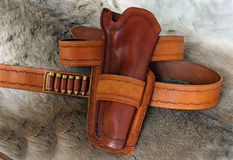 Leather holster ammo belt Royalty Free Stock Photo