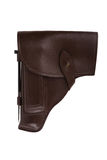 Leather holster for gun isolated on white background Royalty Free Stock Images
