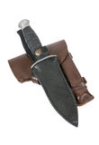 Leather holster and knife in scabbard Royalty Free Stock Images
